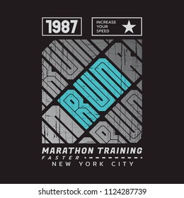 Vector illustration on a theme of run and running in New York City. Vintage design. Grunge background. Sport typography, t-shirt graphics, poster, print, run, banner, flyer, postcard