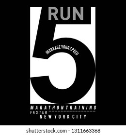 Vector illustration on a theme of run and running in New York City. Sport typography, t-shirt graphics, poster, print, run, banner, flyer, postcard - Vektör