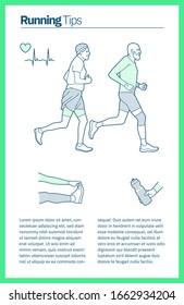 Illustration vectorielle sur le thème de la course. Le vieil homme et la femme vêtus de vêtements de sport s'entraînent. Illustration de l'article informationnel de bout en bout.