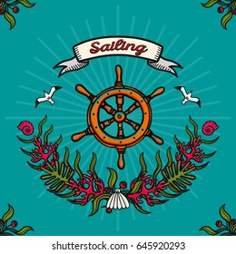 Vector illustration on the theme of sea travel and sailing. Hand-drawn vector images on a blue background