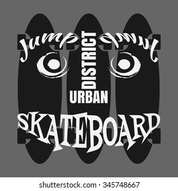 Vector illustration on the theme of skateboard and skateboarding. Typography, t-shirt graphics, poster, banner, flyer, postcard