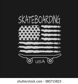 Vector illustration on the theme of skateboard and skateboarding of  USA.  Stylized American flag. Typography, t-shirt graphics, poster, banner, flyer, postcard