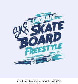 Vector illustration on the theme of skateboard and skateboarding. Grunge background. Street art design. Typography, t-shirt graphics, print, poster, stencil, banner, flyer, postcard