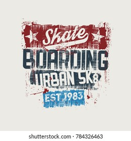 Vector illustration on the theme of skateboard and skateboarding. Vintage design. Grunge background. Sport typography, t-shirt graphics, print, poster, stencil, banner, flyer, postcard