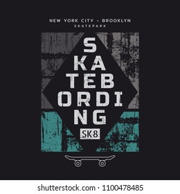 Vector illustration on the theme of skateboarding and skateboard in New York City, Brooklyn. Vintage design. Grunge background. Sport typography, t-shirt graphics, poster, print, postcard