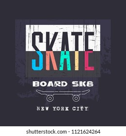 Vector illustration on the theme of skateboarding and skateboard in New York City. Vintage design. Grunge background. Typography, t-shirt graphics, poster, print, postcard