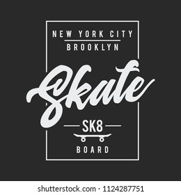 Vector illustration on the theme of skateboarding and skateboard in New York City, Brooklyn. Typography, t-shirt graphics, print, poster, banner, flyer, postcard