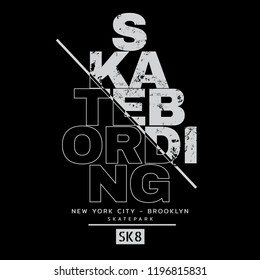 Vector illustration on the theme of skateboarding and skateboard in New York City, Brooklyn. Sport typography, t-shirt graphics, poster, print, postcard
