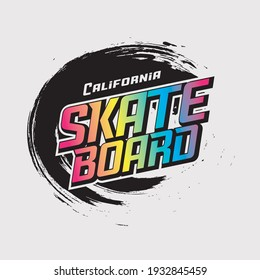 Vector illustration on the theme of skateboarding and skateboard in California. Sport typography, t-shirt graphics, poster, print, postcard