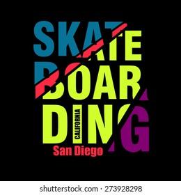 Vector illustration on the theme of skateboarding, print, skate, printing on clothing, vintage emblem, logo