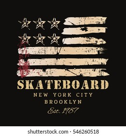 Vector illustration on the theme of skateboarding and skateboard in New York City, Brooklyn. Stylized American flag. Grunge background.  Typography, t-shirt graphics, poster, print, postcard