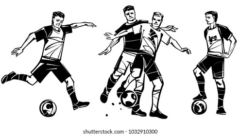 Vector illustration on the theme of soccer. Three players in soccer.