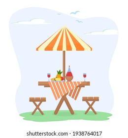 vector illustration on the theme of summer picnics. Wooden table with a bottle of red wine, glasses and a plate of fruit and cheese