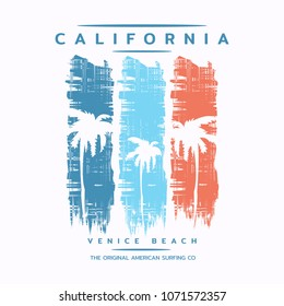 Vector illustration on the theme of surf rider and surfing in California, Venice beach. Grunge background. Typography, t-shirt graphics, print, poster, banner, flyer, postcard