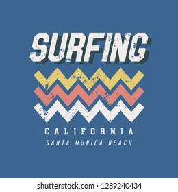 87d875e5ec Vector illustration on the theme of surf rider and surfing in California