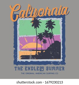Vector illustration on the theme of surf and surfing in California.  Vintage design. Grunge background. Typography, t-shirt graphics, poster, banner, flyer, print, postcard