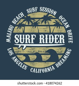 Vector illustration on the theme of surf rider and surfing in California, Malibu Beach. Vintage design. Grunge background.  Typography, t-shirt graphics, poster, banner, flyer, print and postcard