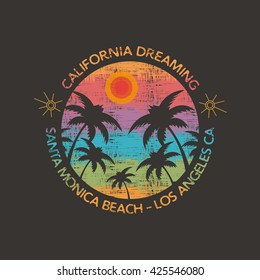 Vector illustration on the theme of surf and surfing in Santa Monica Beach.  Vintage design.  Slogan: California dreaming. Grunge background. Typography, t-shirt graphics, poster, print, postcard