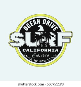 Vector illustration on the theme of surf and surfing in California, Santa Monica beach.  Stamp typography, t-shirt graphics, print, poster, banner, flyer, postcard