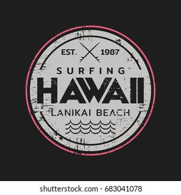 Vector illustration on the theme of surf rider and surfing in Hawaii, Lanikai beach. Grunge background.  Vintage design.  Stamp typography, t-shirt graphics, print, poster, banner, flyer, postcard