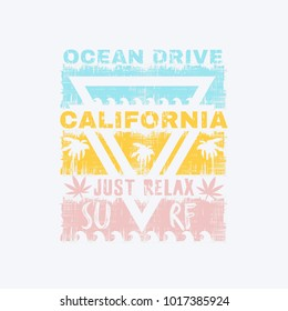 Vector illustration on the theme of surfing, surf and marijuana in California. Grunge background.  Slogan: just relax. Typography, t-shirt graphics, print, poster, banner, flyer,