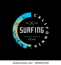 Vector illustration on the theme of surfing and surf rider in California, Venice beach. The abstract design. Stamp typography, t-shirt graphics, print, poster, banner, flyer, postcard