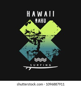Vector illustration on the theme of surfing and surf in Hawaii. The abstract design. Typography, t-shirt graphics, print, poster, banner, flyer, postcard