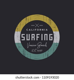 Vector illustration on the theme of surfing and surf in California, Venice beach. Grunge background. Vintage design. Stamp typography, t-shirt graphics, print, poster, banner, flyer, postcard