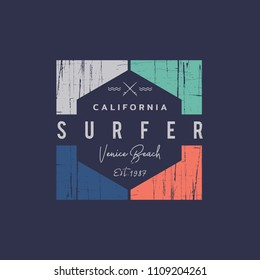 Vector illustration on the theme of surfing and surfer in California, Venice beach. Grunge background. Vintage design. Stamp typography, t-shirt graphics, print, poster, banner, flyer, postcard