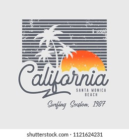 Vector illustration on the theme of surfing and surf in California, Santa Monica beach. Vintage design.  Grunge background. Sport typography, t-shirt graphics, print, poster, banner, flyer, postcard