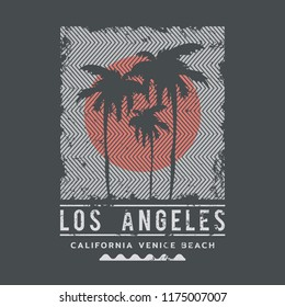 Vector illustration on the theme of surfing and surf in California, Los Angeles City. Vintage design.  Grunge background. Sport typography, t-shirt graphics, print, poster, banner, flyer, postcard