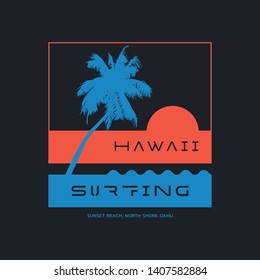 Vector illustration on the theme of surfing and surf in Hawaii. Typography, t-shirt graphics, print, poster, banner, flyer, postcard