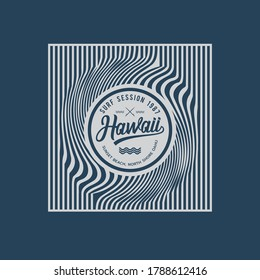 Vector illustration on the theme of surfing and surf in Hawaii, Sunset beach. Abstract background. Stamp typography, t-shirt graphics, print, poster,