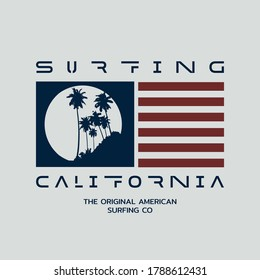Vector illustration on the theme of surfing and surf in California. Sport typography, t-shirt graphics, print, poster,