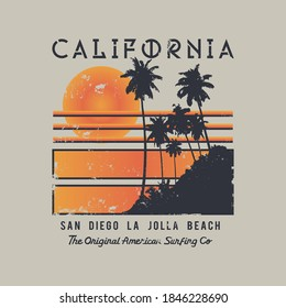Vector illustration on the theme of surfing and surf in California. Vintage design. Grunge background. Sport typography, t-shirt graphics, print, poster, banner, flyer, postcard