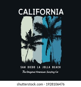 Vector illustration on the theme of surfing and surf in California. Sport typography, t-shirt graphics, print, poster, banner, flyer, postcard