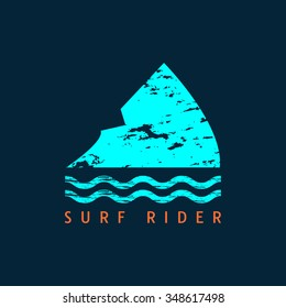 Vector illustration on the theme of surfing and surf. Shark fin.  Surfing logo or emblem design.  Grunge style. Typography, t-shirt graphics, poster, banner, flyer, postcard