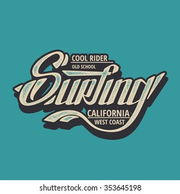 Vector illustration on the theme of surfing in California. west coast, t-shirt graphics, vintage illustration, emblem, vector