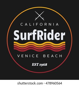 Vector illustration on the theme of surfing and surf rider in California, Venice beach. Stamp typography, t-shirt graphics, poster, banner, flyer, postcard