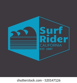Vector illustration on the theme of surfing and surf rider in California. The logo design. Typography, t-shirt graphics, poster, banner, flyer, print; postcard