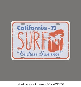 Vector illustration on the theme of surfing and surf in California.  Vintage design. The stylized License plates.  Stamp typography, t-shirt graphics, print, poster, banner, flyer; postcard