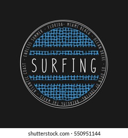Vector illustration on the theme of surfing and surf in Florida, Miami Beach. Stamp typography, t-shirt graphics, poster, banner, flyer, print, postcard
