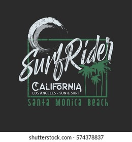Vector illustration on the theme of surfing and surf rider in California, Santa Monica beach.  Grunge background. Typography, t-shirt graphics, poster, print, banner, flyer, postcard