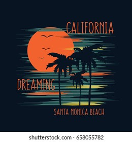 Vector illustration on the theme of surfing and surf in Santa Monica beach. Slogan: California dreaming.  Typography, t-shirt graphics, poster, banner, flyer, print, postcard