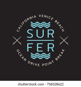 Vector illustration on the theme of surfing and surf in California, Venice beach.  Stamp typography, t-shirt graphics, print, poster, banner, flyer, postcard