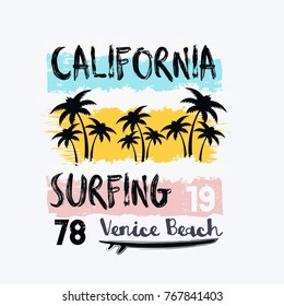 Vector illustration on the theme of surfing and surf in California, Venice beach. Vintage design. Grunge background. Number sport typography, t-shirt graphics, poster, print, banner, flyer, postcard