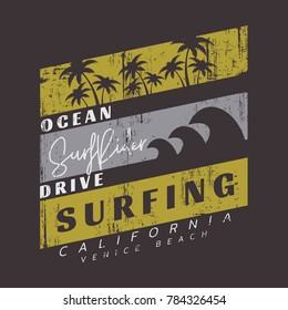 Vector illustration on the theme of surfing and surf in California, Venice beach. Vintage design. Grunge background. Sport typography, t-shirt graphics, print, poster, banner, flyer, postcard