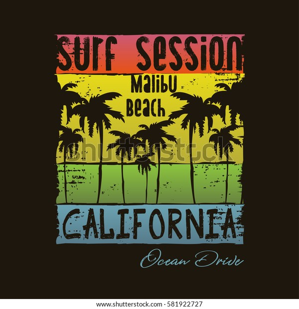 Vector illustration on the theme of surfing and surf in California, Malibu beach. Vintage design.  Grunge background. Typography, t-shirt graphics, poster, print, banner, flyer, postcard