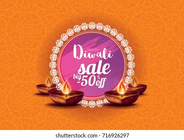 Vector illustration on the theme of the traditional celebration of happy diwali. Deepavali light and fire festival