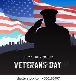 Vector illustration on the theme: veterans day, 11th November, patriotism, holiday, war, peace, happiness, pride, America, USA, parade. Modern flat design.#1